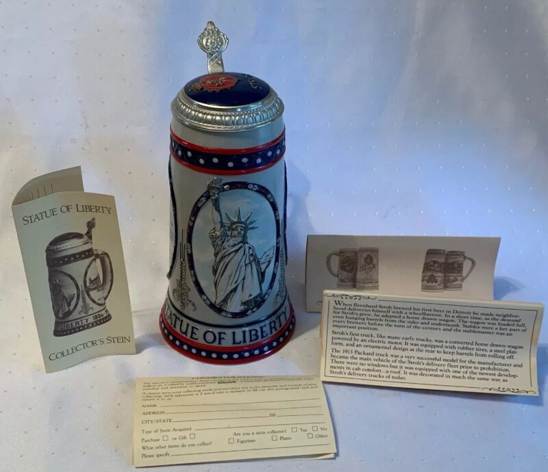 Vintage STATUE OF LIBERTY & STROH BEER Lidded Stein 1886-1986 #07445 W/Papers