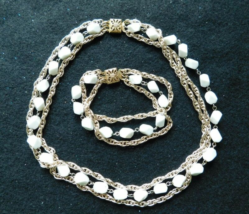 Vintage Set - Necklace and Bracelet with Glass Nugget Beads