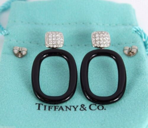 $7,250 Rare Tiffany & Co Drop Dangle Earrings Pave Set Diamond Cushion Onyx