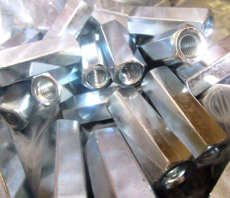 25 Hex Rod Coupling Nuts 3/8-16 X 1 3/4 Threaded Rod Connectors Zinc