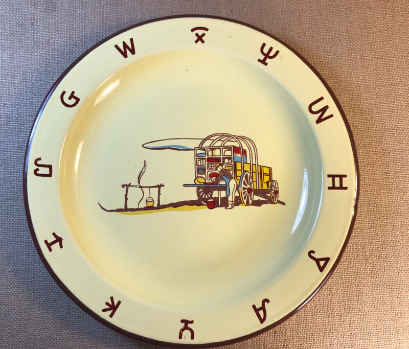 Vintage Metal Enamel Western Style Plate Chuckwagon And Cattle Brands