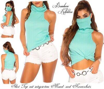 NEUHEIT 34 36 38 XS-S-M Cotton Shirt mit Mund- und Nasenschutz Maske Aqua Italy
