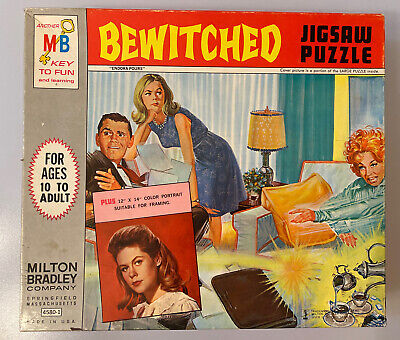 ORIGINAL 1964 BEWITCHED JIGSAW PUZZLE - OVER 600 PIECES COMPLETE IN ORIGINAL BOX