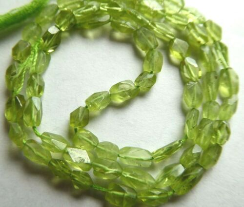 """Natural Green Peridot Faceted Rectangular Oval Gemstone Beads Approx. 4-6mm 14"""""""
