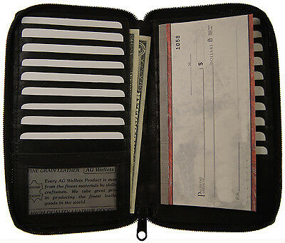 Genuine Leather Zip Around Long 19 Credit Card/Check Book ID Holder Safe Wallet