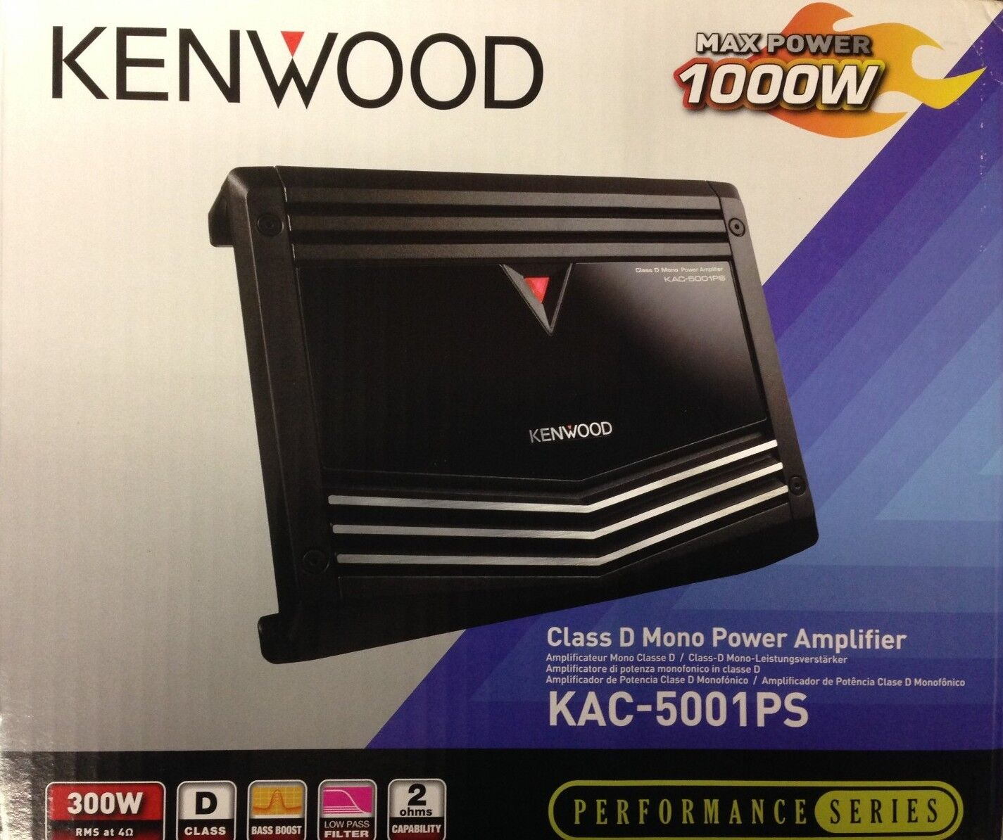 Kenwood KAC 5001PS Performance Series 1000W Class D Mono Channel Car Amplifier