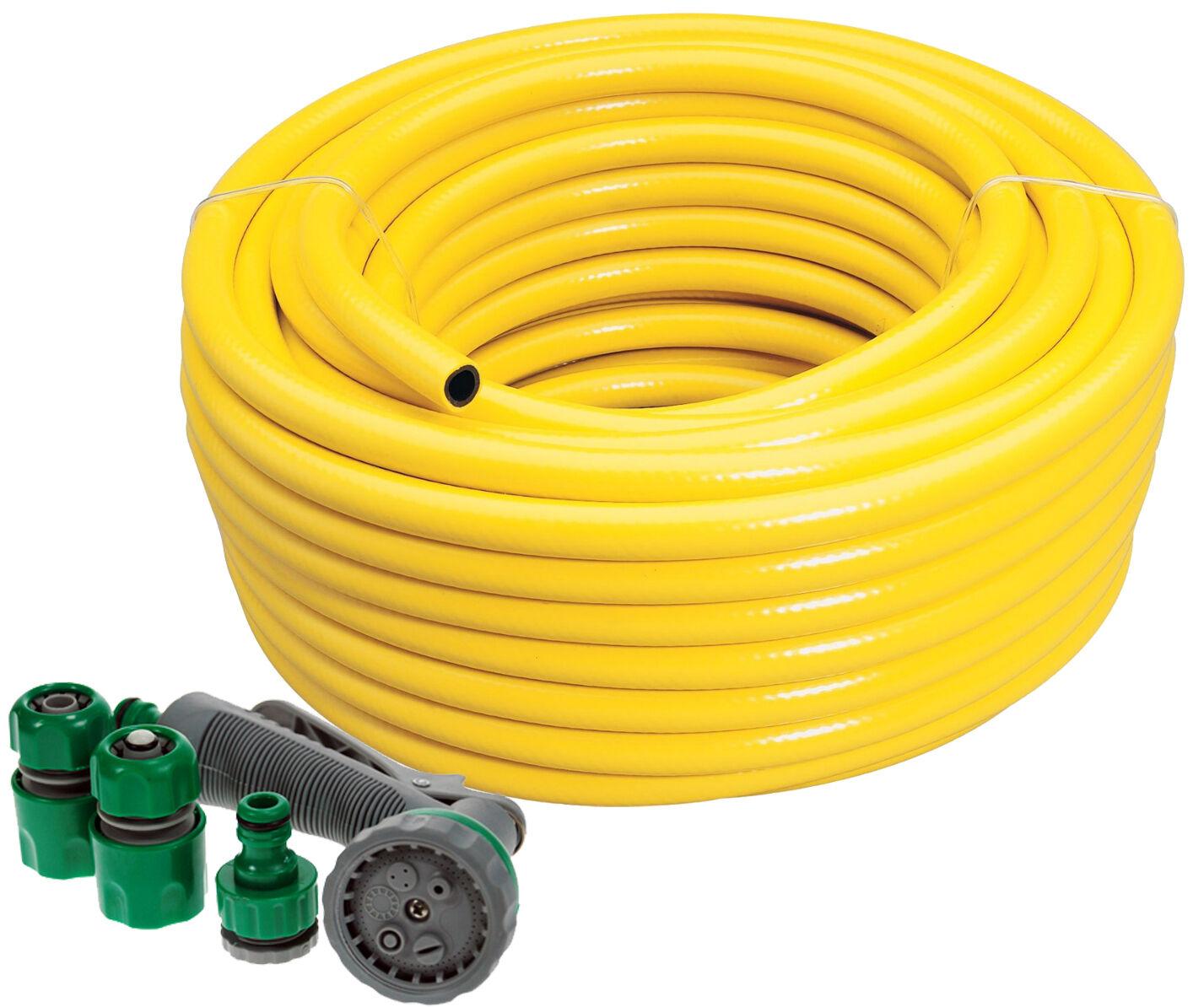Professional Heavy Duty Yellow Hose Pipe + Spray Gun Set Garden Hosepipe 75 50 M
