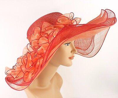 Church Kentucky Derby Wedding Sinamay Wide Brim Dress Hat 2974 Rust & Orange