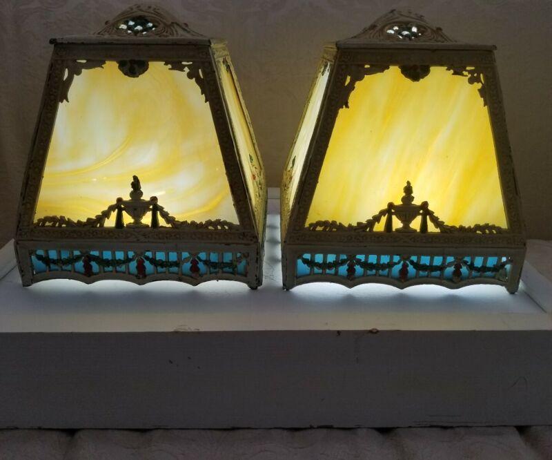 Antique/Vintage Victorian Pair Of Slag Glass Metal Lamp Shades
