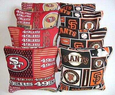 (SAN FRANCISCO GIANTS & 49ERS CORNHOLE BEAN BAGS SET OF 8 TOP QUALITY TOSS GAME )