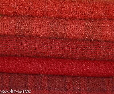 """HAND DYED RUG HOOKING WOOL Mill-Dyed ~ """"RAVISHING REDS"""""""