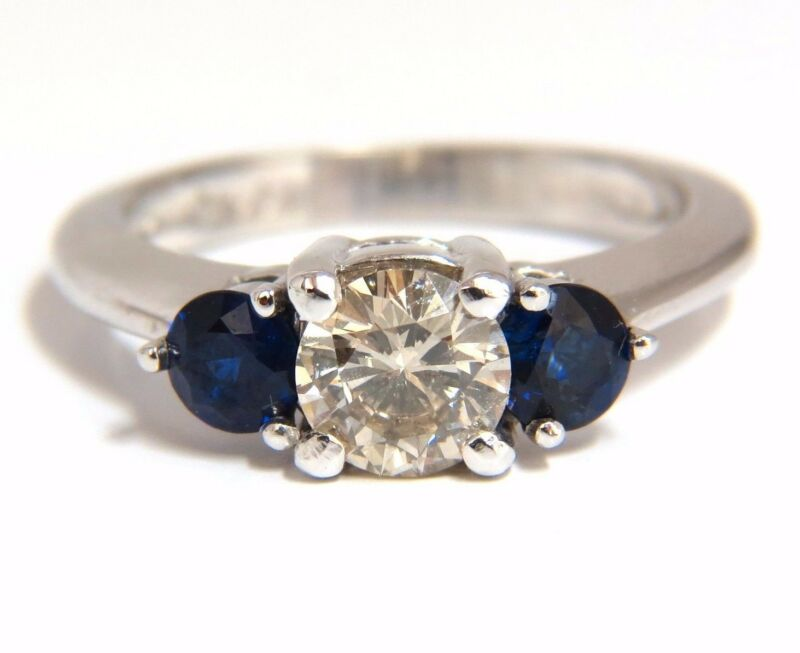 $5000 1.44CT NATURAL ROUND DIAMOND & SAPPHIRE THREE STONE CLASSIC 14KT