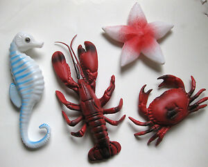 PLASTIC LOBSTER CRAB SEAHORSE STARFISH LUAU TABLE DECORATION OCEAN SEA FISH PROP