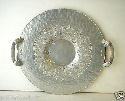 Vtg Hammered Aluminum Trade Continental Mark Hand Wrought  #520 Tray