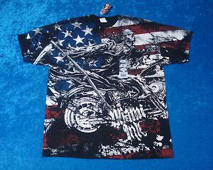 Licensed Miami Ink Skeleton Biker American Flag T-Shirt XL