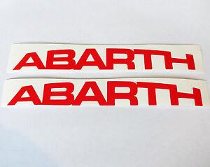 2 x red abarth logo vinyl car stickers decal fiat 500 punto ebay. Black Bedroom Furniture Sets. Home Design Ideas