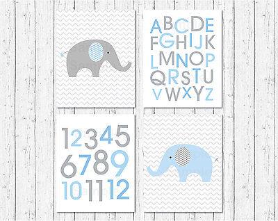 Blue Chevron Elephant Printable Nursery Wall Art