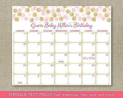 Blush Pink   Gold Glitter Dots Printable Baby Due Date Calendar Editable Pdf