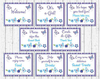 Lavender Butterfly Garden Baby Shower Table Signs - 8 Printable Signs
