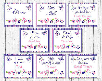 Pink & Purple Butterfly Baby Shower Table Signs - 8 Printable Signs - Purple Butterfly Baby Shower Decorations