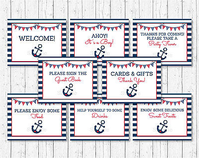 Nautical Anchor Blue & Red Baby Shower Table Signs - 8 Printable Signs (Nautical Baby Shower Decor)