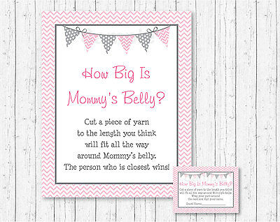 Modern Baby Shower Games (Modern Pink Chevron How Big Is Mommys Belly Baby Shower)