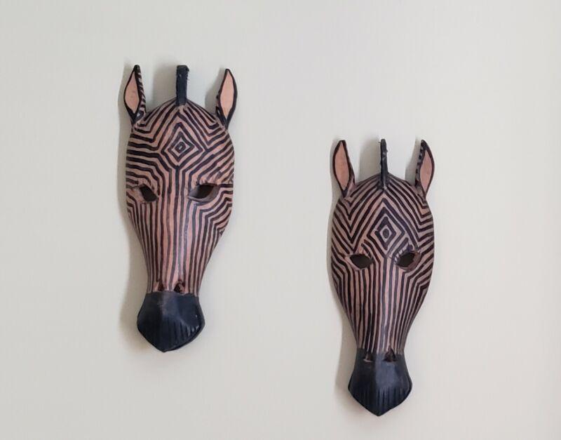 Wooden Tribal Zebra Mask Hand Carved Wall Sculpture Plaque - Set of 2