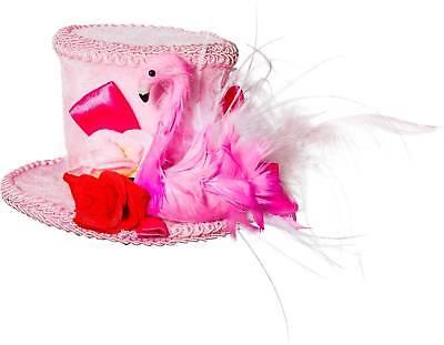 Damen Rosa Flamingo Burleske Feder Mini Hut Kostüm Kleid Outfit - Flamingo Kostüm Hut