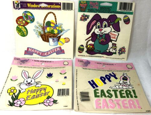 Vintage Classic Clings Easter Magic Cling Window Decorations lot of 4 NOS 90s