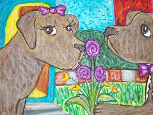CHESAPEAKE BAY RETRIEVER on a DATE Collectible Dog Art Print 8x10 Signed KSAMS