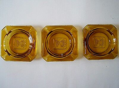 3  Vintage Best Western Usa Amber Glass Crown Embossed Ashtray Gold