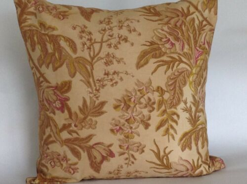 19th Century French fabric pillow Floral and Gold Damask