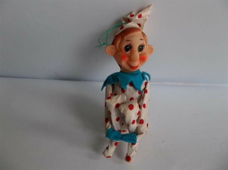Vintage Elf Pixie Knee Hugger Christmas Ornament Polka Dot Big Nose