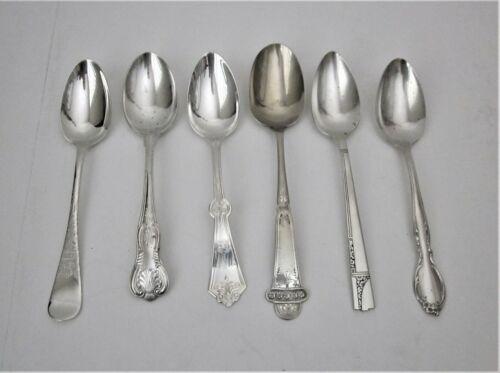 Lot of 6 Vintage/Antique Silver Plate Soup Spoons