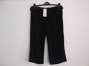 Next BNWT black linen blend cropped maternity trousers Size 8 RRP £18