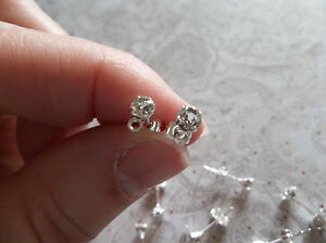 Silver Plated Brass Ear Posts with 4mm Round Clear Rhinestones & 1 Loop - Qty 12