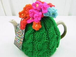 Knitted TEA COSY - Tea Cosie for Tea Pot - Retro Vintage Style- Fits 6-8 cup pot