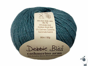 Debbie Bliss CASHMERINO ARAN Wool ~ Shade 47 AQUA  50g Ball