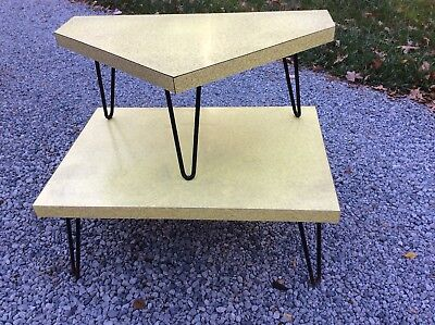 Vtg Yellow Formica 2 Tier Mid-Century Modern Corner Table -Metal Legs -Very Good