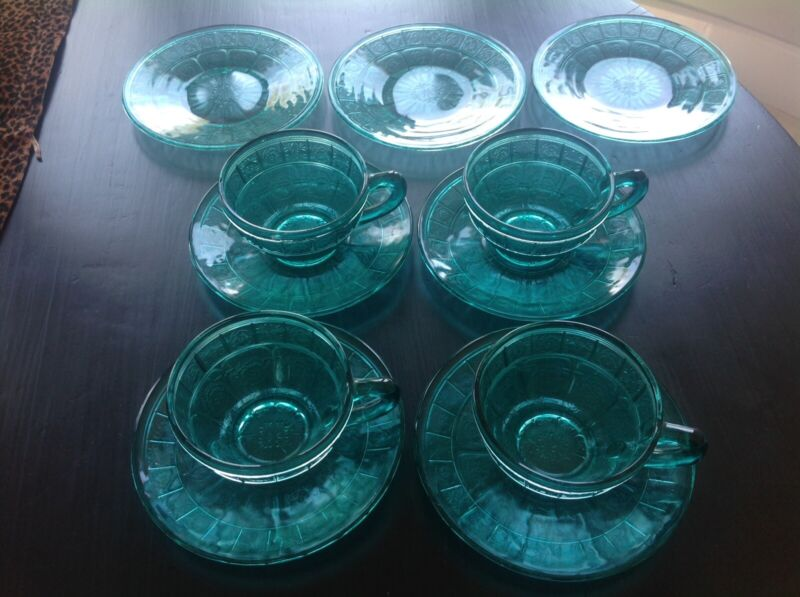 Jeanette Glass Doric and Pansy Ultramarine Teal 13 pieces