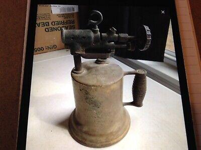Vintage Brass Gas/Kerosene Blow Torch with Wood Handle