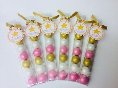 Baby Girl Shower Pink and Gold Twinkle Little Star Party Favor Gumball Candy (Gold Gumballs)