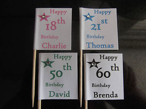 12 personalised Birthday cupcake cake flags toppers 18th  21st  30th  40th 50th