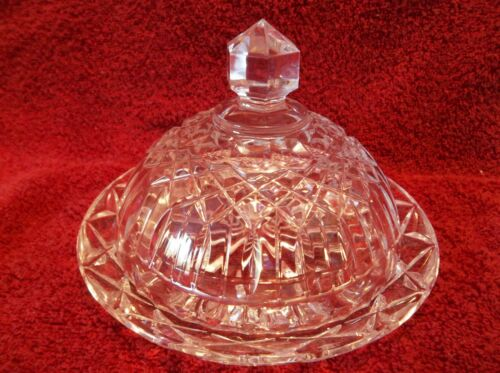 VINTAGE ANCHOR HOCKING ROUND COVERED BUTTER CHEESE DISH