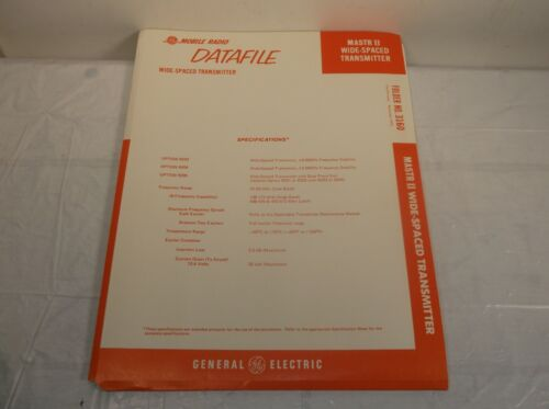 GE DATAFILE 3160 MASTR II WIDE-SPACED TRANSMITTER TECHNICAL MAINTENANCE MANUAL