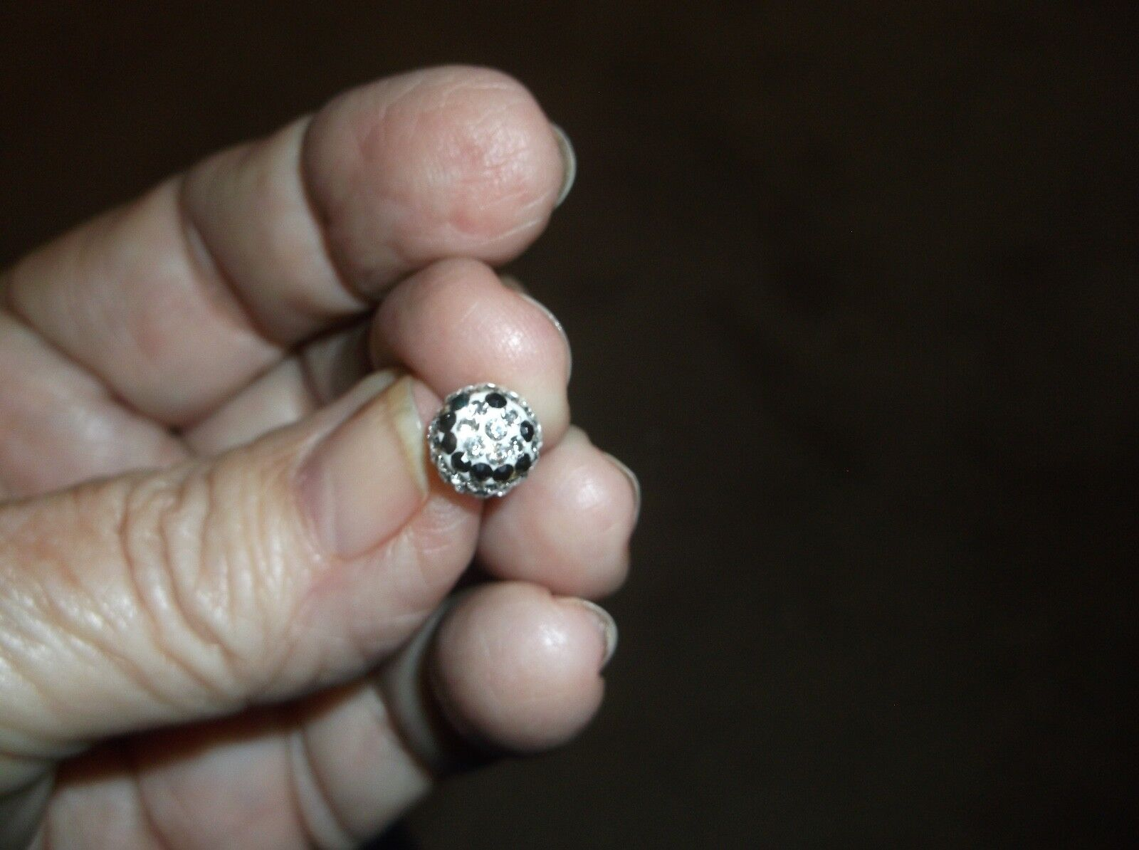 Earrings--Tiny Smiley Face In Clear And Black Crystals--just Darling--petite  - $9.10
