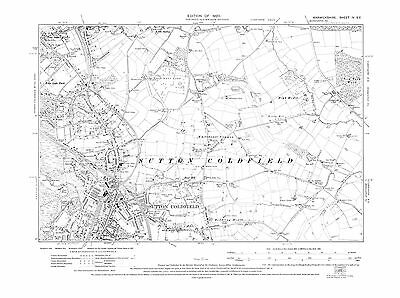 Old Map of  Sutton Coldfield, Warwickshire in 1920- Repro 4 SE
