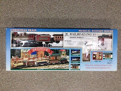 Vintage New Bright Brand Dickensville Christmas Train Set Musical Station House