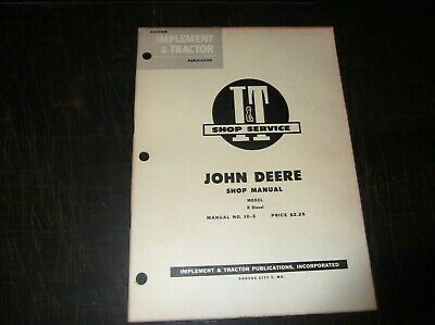 Original John Deere Model R Diesel Tractor I T Shop Service Manual