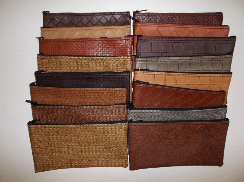 6 Piece Assorted Premium Designer Vinyl Bank Deposit Bag Lot Tool Bag Organizer
